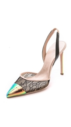 Giambattista Valli Lace And Iridescent Pumps Black Nude