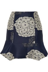 Michael Van Der Ham Silk Jacquard Mini Skirt Storm Blue