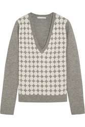 Richard Nicoll Spot Intarsia Wool And Cashmere Blend Sweater Gray
