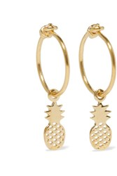 I I Pineapple Gold Plated Hoop Earrings
