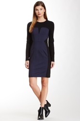Yigal Azrouel Two Tone Long Sleeve Dress Multi