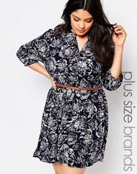 Yumi Plus Skater Dress With Belt In Flower Print Navy