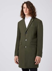 Topman Green Noose And Monkey Khaki Wool Blend Overcoat