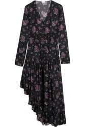 Magda Butrym Rovigo Ruffled Floral Print Silk Dress Purple