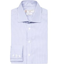 Turnbull And Asser Bengal Stripe Slim Fit Cotton Shirt Blue