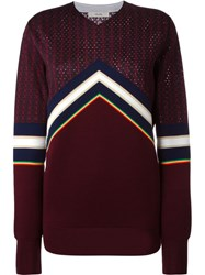 Celine Striped Jacquard Sweater Pink And Purple