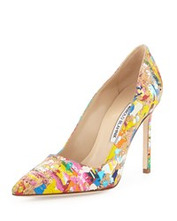 Manolo Blahnik Bb Paint Splatter Cork 105Mm Pump Multi Women's