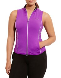 Lauren Ralph Lauren Plus Full Zip Mockneck Vest Ultra Purple