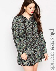 Ax Paris Plus Shirt Dress With Tie Wasit In Diamond Print Multi