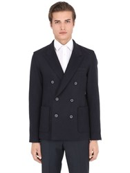 Lanvin Double Breasted Wool Blend Jersey Jacket
