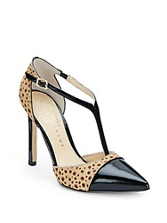 Ivanka Trump Camelaly Calf Hair And Patent Leather T Strap Pumps Beige Black