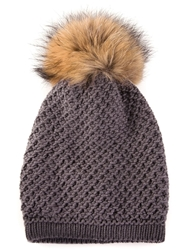 Inverni Raccoon Fur Pom Hat Grey