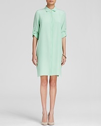 Magaschoni Trimmed Silk Shirt Dress Mint