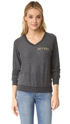Wildfox Couture Hey Sister Baggy Beach V Neck Sweatshirt Clean Black