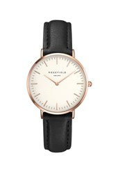 Topshop The Tribeca White And Black Rose Gold Watch By Rosefield Black