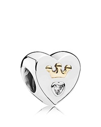 Pandora Design Pandora Charm 14K Gold Sterling Silver And Cubic Zirconia Majestic Heart Moments Collection