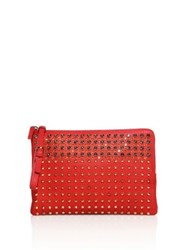 Mcm Stark Special Studded Leather Clutch Ruby Red