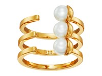 Rebecca Minkoff Two Tone Bead Wrap Ring Gold Pearl Ring
