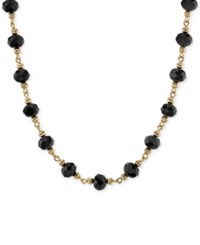 2028 Gold Tone Faceted Jet Bead Collar Necklace