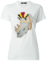 Markus Lupfer Tribal Rhino Beaded Sequin Embellished T Shirt White