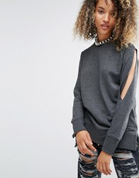Daisy Street Longline Top With Cold Shoulder Split Sleeves Grey