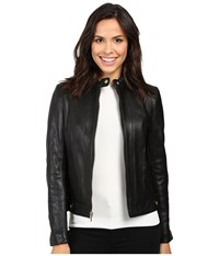 Cole Haan Leather Racer Jacket With Quilted Panels Black Women's Jacket