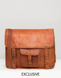 Reclaimed Vintage Leather Messenger Bag In Tan With Pocket Brown