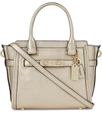 Coach Swagger 21 Pebbled Leather Tote Li Platinum