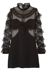 Alessandra Rich Ruffled Trimmed Tulle And Cady Mini Dress Black