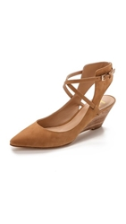 Belle By Sigerson Morrison Wallace Ankle Strap Wedges Rustic Tan