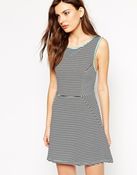 Rock And Religion Sleeveless Striped Skater Dress With Piped Detail Blackwhite