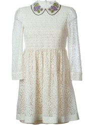 Red Valentino Lace Empire Waist Dress Nude And Neutrals