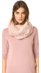 Jocelyn Fur Knitted Infinity Scarf Powder