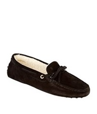 Tod's New Lacetto Shearling Slipper Black