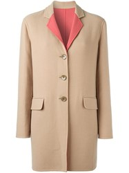 Etro Contrast Collar Single Breasted Coat Nude And Neutrals