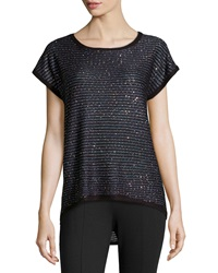 Neiman Marcus Striped Sequin Knit Tee Onyx