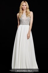Women's Hayley Paige 'Ellie' Embellished Chiffon A Line Gown In Stores Only