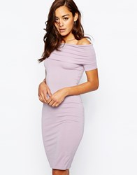 Asos Bardot Off Shoulder Midi Dress Dusty Lilac Purple