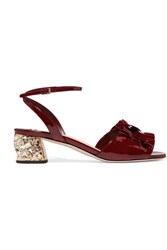 Miu Miu Crystal Embellished Patent Leather Sandals Burgundy