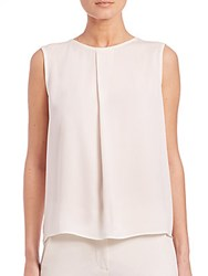 Max Mara Vanna Pleated Silk Tank Top White