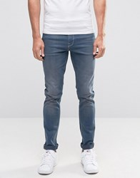 Asos Skinny Jeans In Smokey Blue Wash Mid Blue