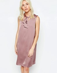 Neon Rose Shift Dress With Pussybow Mink Beige