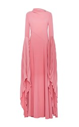 Prabal Gurung Bare Back Gown With Fan Sleeve Pink