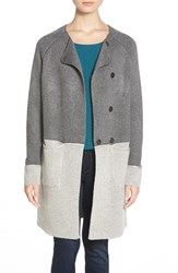 Women's Coin 1804 Colorblock Sweater Coat Charcoal Heather Grey