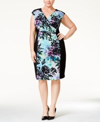Connected Plus Size Floral Print Surplice Sheath Dress Med Purple