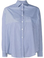 Vince Stripe Convertible Long Sleeve Shirt Blue