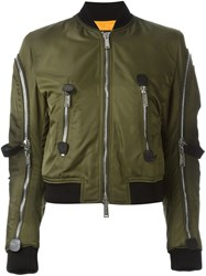 Dsquared2 Strap Detail Aviator Jacket Green