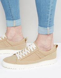 Asos Trainers In Stone Faux Suede With Snakeskin Effect Taupe