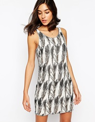Warehouse Feather Sequin Embellished Dress Cream