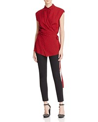 Alexander Wang T By Checkered Wrap Blouse Cherry